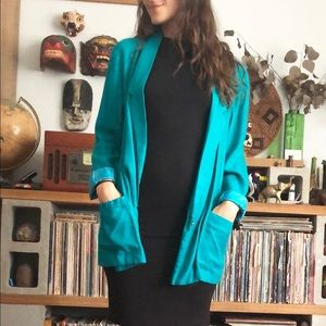 Vintage teal linen blazer